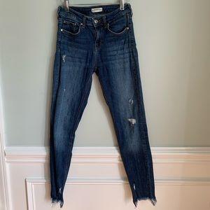 Zara Distressed Denim Jeans Shark Bite Hem Sz 2
